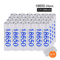 PALO 24pcs/Lot Rechargeable Batteries High Capacity 3200mAh 18650 Battery For Toy Instruments Camera