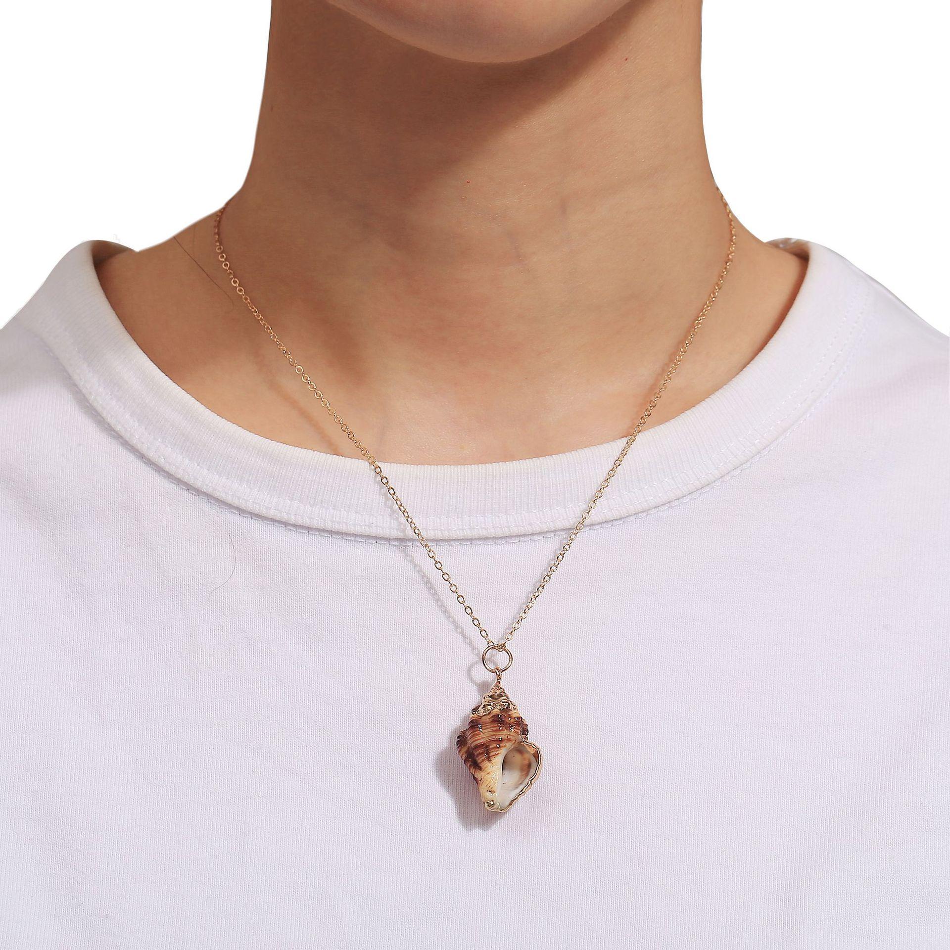 Купить модное пляжное ожерелье из натуральной ракушки эффектное богемное