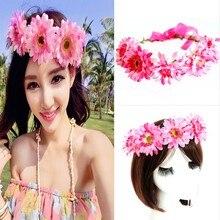 Цветок корона фестиваль повязка на голову свадебные цветочные гирлянды Hairband новый для женщин