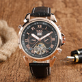 Top JARAGAR Brand Fashion Men Mechanical Self-wind Roman Number Date Business Black Leather Automatic Wristwatch Gift