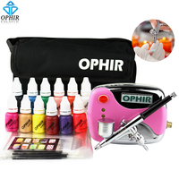 OPHIR Nail Art Tool 0.3mm Airbrush Kit with Air Compressor for Nail Art Airbrushing Stencil & Bag & Cleaning Brush Set_OP-NA001P