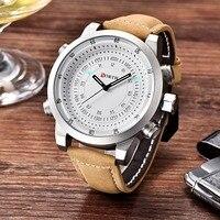 NORTH Top Digital Quartz Watches Men Luxury Brand Military Sport Men Watch Leather Clock Waterproof Wristwatch