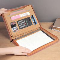 A4 PU leather padfolio manager bag document zipper folder Multifunctional Filling Pad folders business briefcase office supply