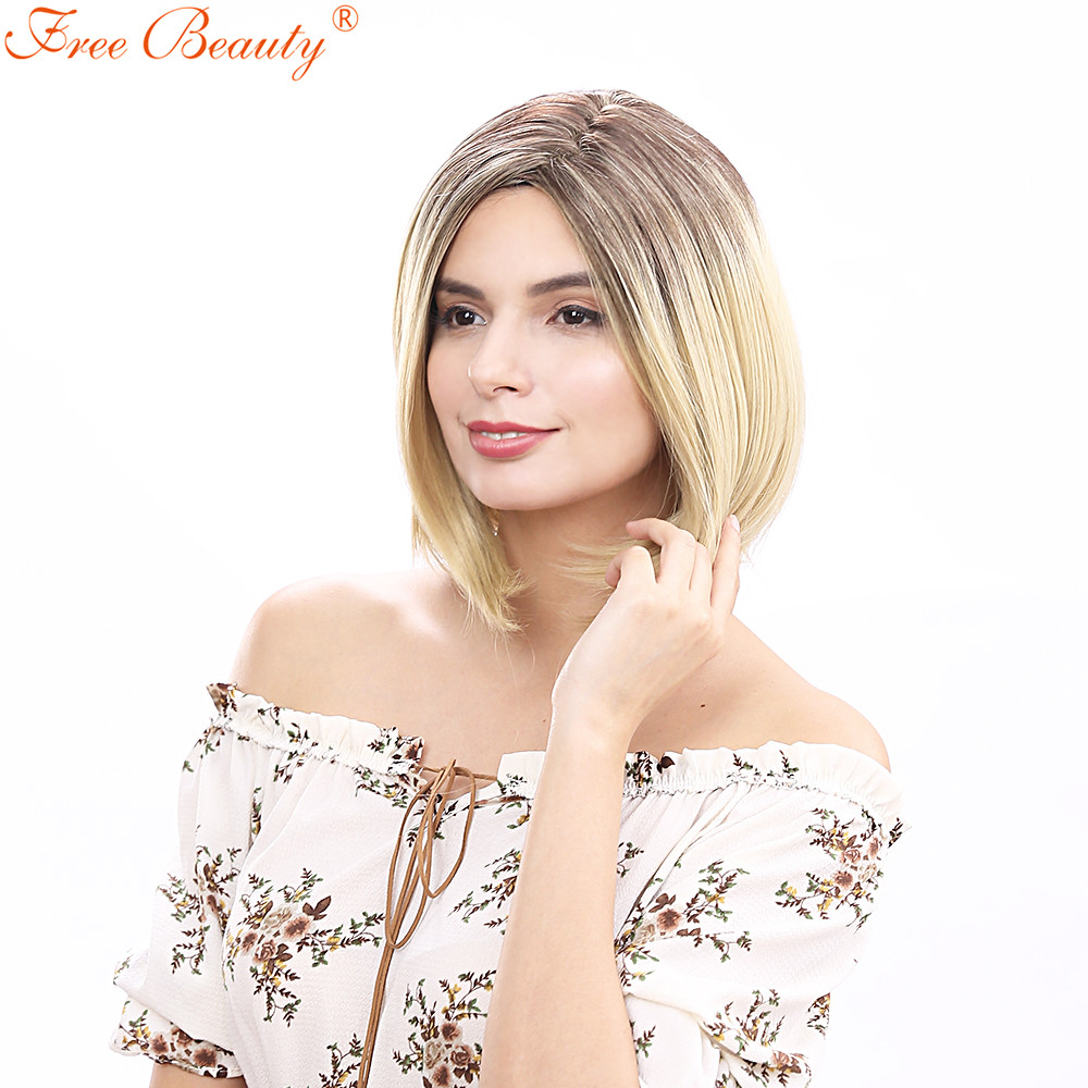 14 Short Fashion Wig Synthetic Hair Ombre Wavy Party Synthetic Wigs For Black Women Masq ...