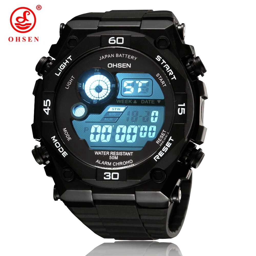 Top Sale New OHSEN Digital LCD Mens Watches Gifts 50M Diving Rubber Strap Alarm Blue Fashion Outdoor Sport Boys Male wristwatch