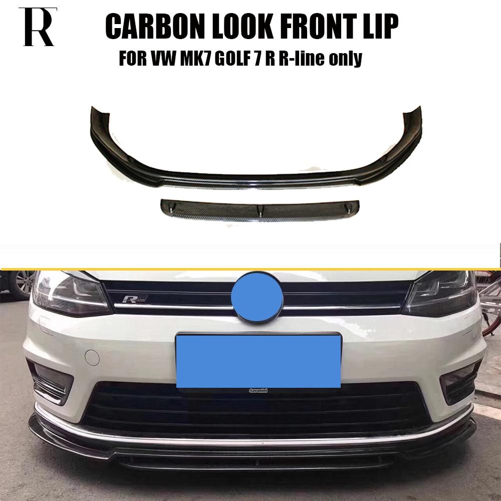 MK7 Carbon Fiber Look Front Bumper Lip Spoiler for VW MK7 Golf 7 R & R-line 2014 - 2017 ( Cant Fit Golf 7 Standard & GTI )