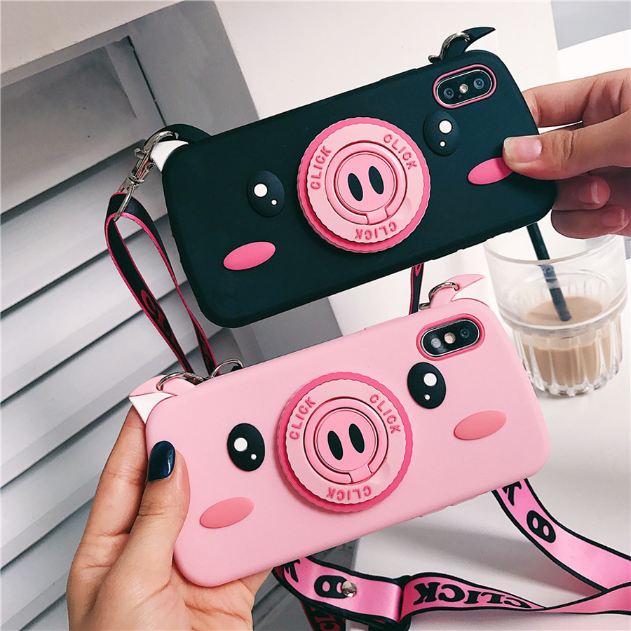 For iphone XS MAX X 7 8 6 6s plus case cover cute 3d cartoon pig ring holder with shoulder strap soft silicone shockproof shell