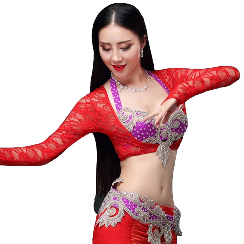 2018 Women Dancewear Accessories Long Sleeves Lace Jacket Belly Dance Bottoming Shirt Bodysuit Chest Support (Jacket Only)