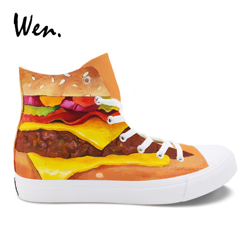 Wen Design Hand Painted Shoes Hamburger Canvas Sneakers Unisex High Top Lace up Skateboard Espadrilles Flat Laced Plimsolls villa bianca тарелка декоративная курица 16х24 см
