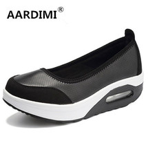 New 2017 size 35-42 spring solid platform shoes woman 4 colors slip on shallow air women flats shoes top quality creepers women