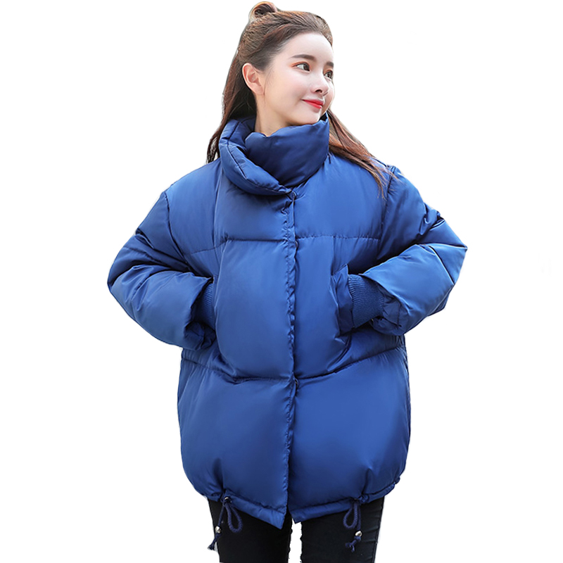 Korean Style Women Winter Jacket 2019 Stand Collar Breasted Buttons Cotton Padded Female Coat Outwear Short Warm Womens   Parka