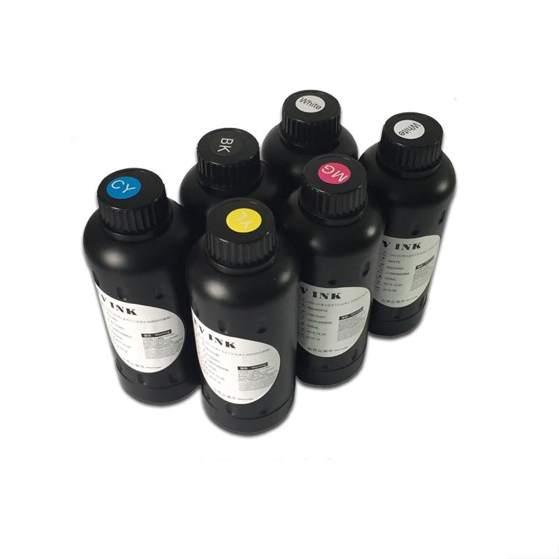 Compatible for New LED UV Ink 6 colors(CMYKWW) for UV flatbed printer все цены