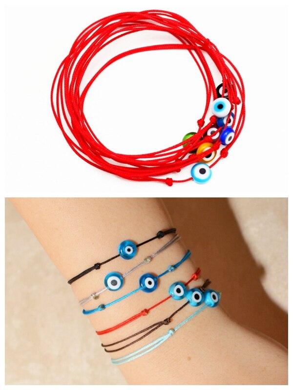 2016 mode unique simple String Rouge Bracelet Kabbale cire cordon corde Bracelet Protection Bracelet Bleu Evil