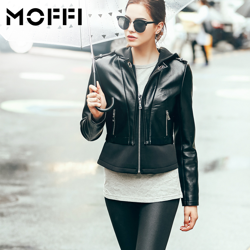 New Women Fashion Jacket solid color hooded Splicing fake two Short Paragraph Leatherette Lady Jackets