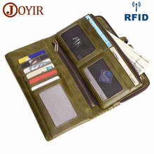 JOYIR Подлинная кожаный кошелек для мужчин с кошельками для сотового телефона Держатель с длинным рукавом RFID Женский мужской кошелек Unisex