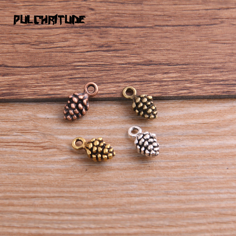 PULCHRITUDE 20pcs 5*7*13mm New Three Color Pine Nut Charms  Christmas Pendants For DIY Jewelry Handmade Making Accessorie P6794