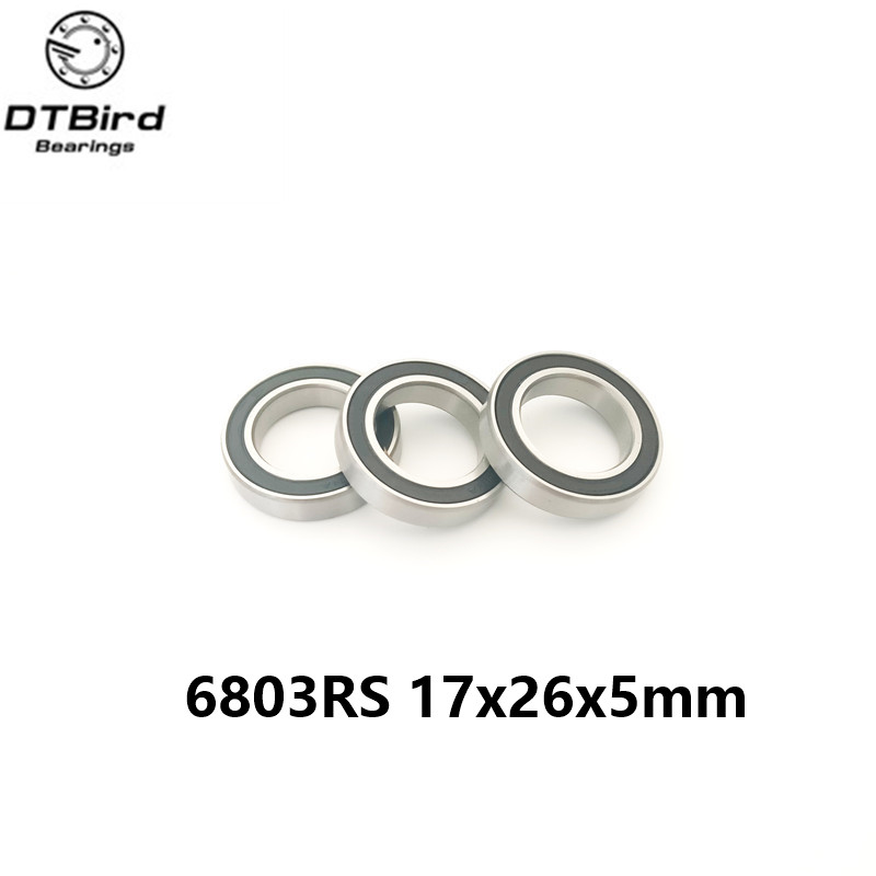 high quality 2pcs rubber sealed bearing steel hybrid ceramic ball bearings 6803 6803 2RS 17*26*5mm Si3N4 bearings wholesale price 2pcs chrome steel bicycle ball bearing rubber sealed for bike cycling bicycle self lubricated with grease