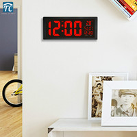 Wall Clock Large Led Daylight Screen Clocks Digital Electronic Living Room Decoration Thermometer Watch Home 24 Or 12 Hour