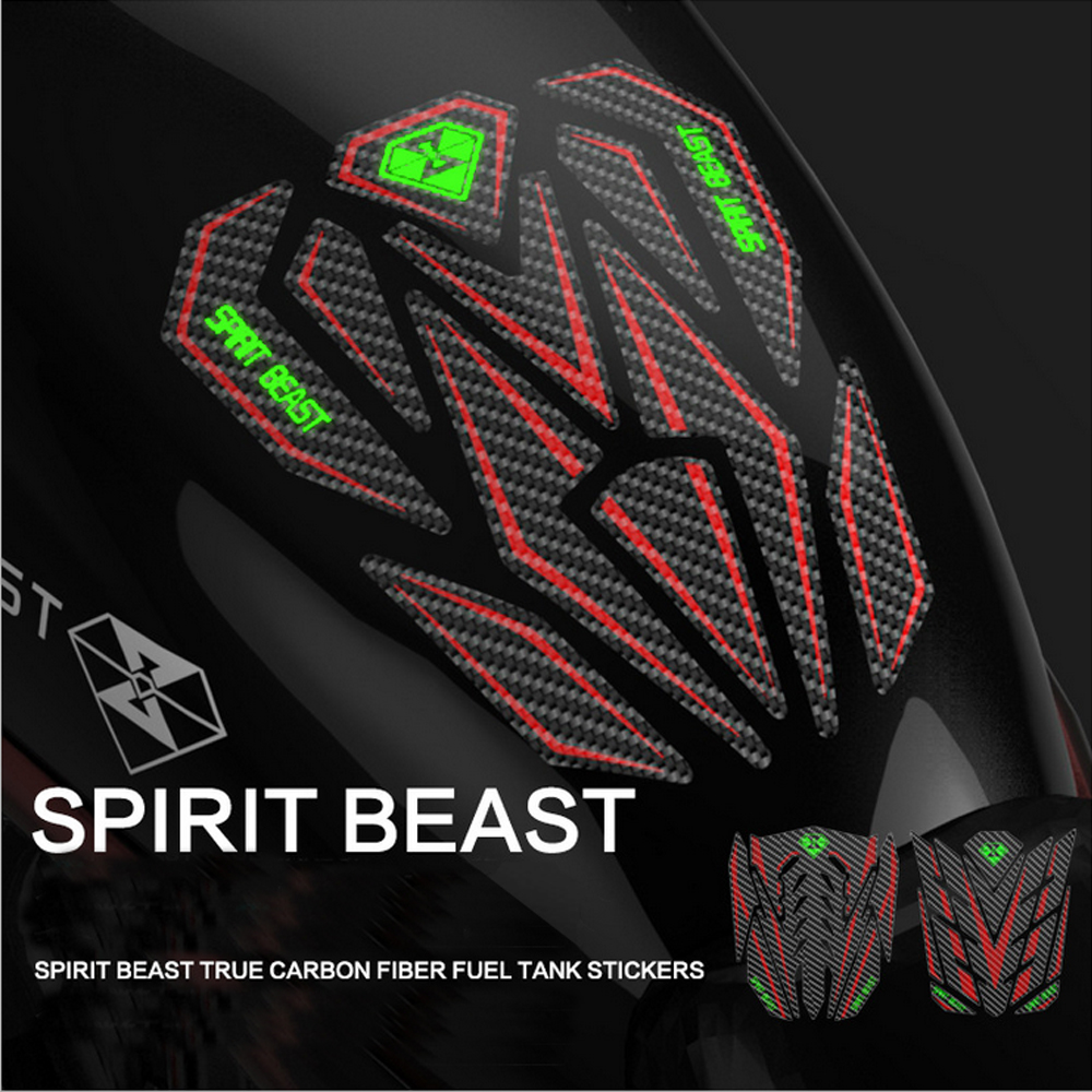 SPIRIT BEAST Motorcycle Sticker Carbon Reflective 3D Moto Gas Fuel Tank Protector Pad Cover Decoration Decals for Yamaha etc