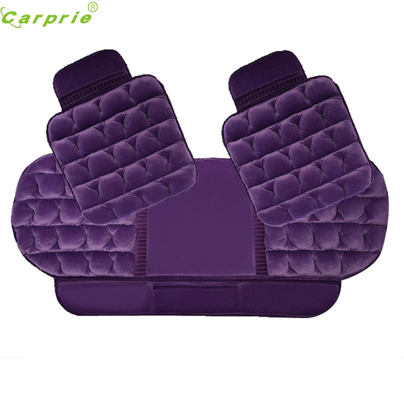 Auto   1Set 3pcs pp Winter Plush Anti Slip Car Seat Cover Lattice Cushion Seat Cover Pad Mat Chair coffee  Dec29