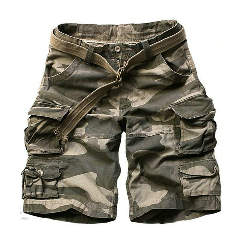 2019 Summer Fashion Military Cargo Shorts Men High Quality Cotton Casual Mens Shorts Multi-pocket ( Free Belt )