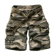 2020 Summer Fashion Military Cargo Shorts Men High Quality Cotton Casual Mens Shorts Multi pocket ( Free Belt )