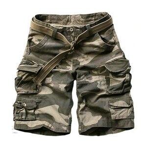 Image 1 - 2020 sommer Mode Militär Cargo Shorts Männer Hohe Qualität Baumwolle Casual Herren Shorts Multi tasche (Freies Gürtel)