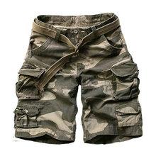 Pantalones cortos militares de carga para hombre, Shorts masculinos informales de algodón de alta calidad con múltiples bolsillos (cinturón gratis), 2020