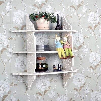 Wood wall shelf hanging screen TV setting wall decorative shlef creative grid shelf