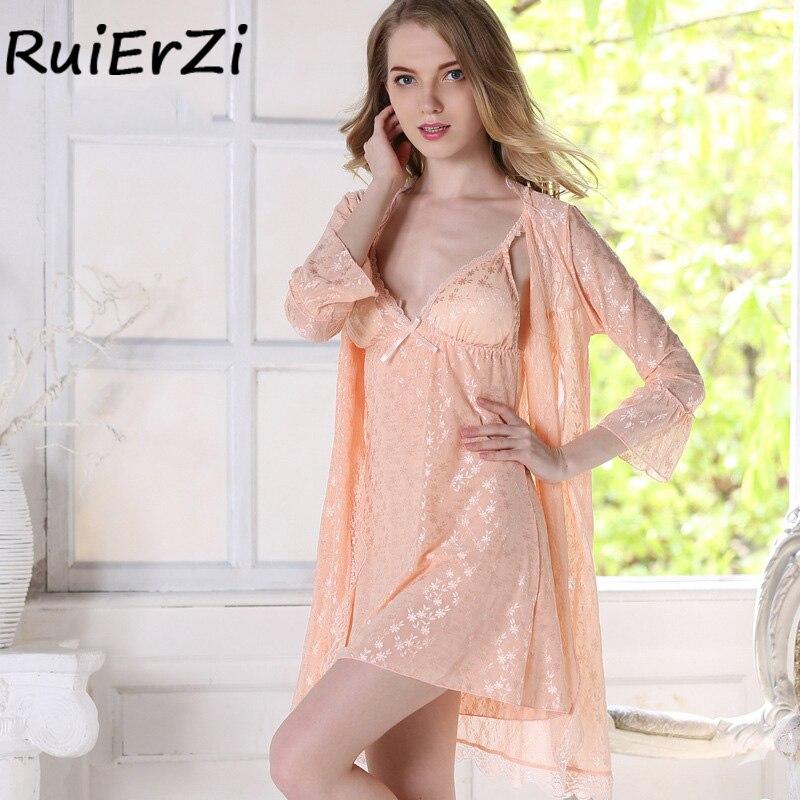 Silk Robe & Gowns Set Summer Print Patchwork Bowknot Belt Sexy 2018 Fashion Casual Two Piece Suspender Sleepwear + Bathing Robe