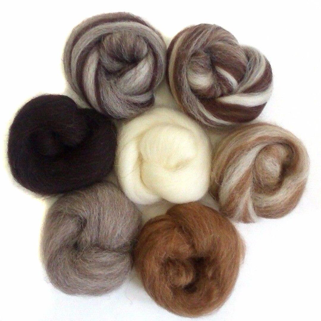 7 pièces/ensemble couleur mélangée feutrage laine Fiber aiguille feutrage naturel Collection pour animaux projets feutrage laine pour couture 35g