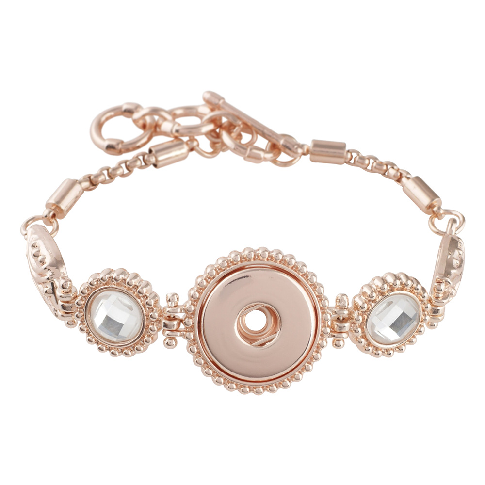 2018 New Arrival OL Style Rhinestone Ball Fashion Charm Bracelets & Bangles Rose Gold Color 18mm Snap Jewelry Gift For Women