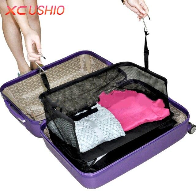 3 Layers Portable Travel Storage Bag Hook Hanging Nylon Mesh Organizer Wardrobe Clothes Shoes