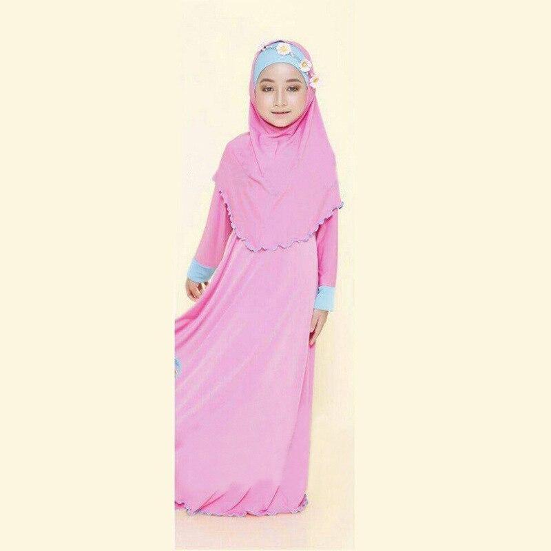 3 Color de La Niña Musulmana Una Línea Vestido Largo Con Turbante ...