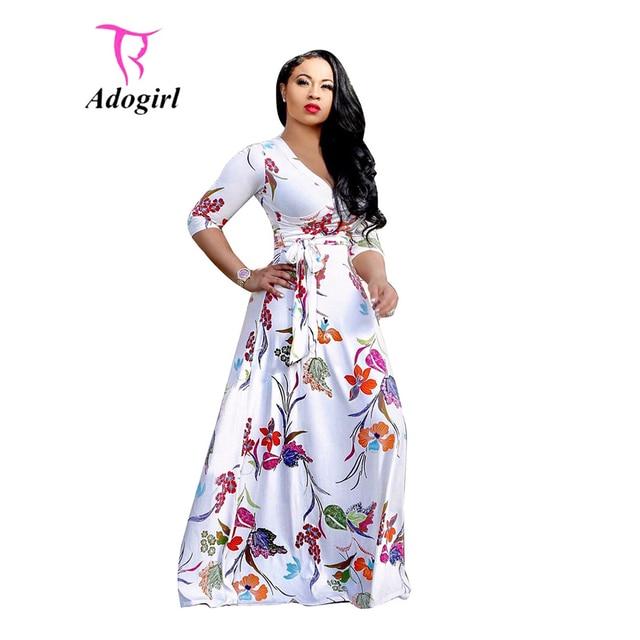 3e9936d7234 Floral Print White Dress Women Casual Big Hem V Neck Three Quarter Sleeves  Bandage Maxi Dress