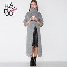 HDY Haoduoyi, женский модный длинный свитер с высоким воротом, офисный женский свитер Trendye с длинным рукавом, простой зимний тонкий свитер, топы