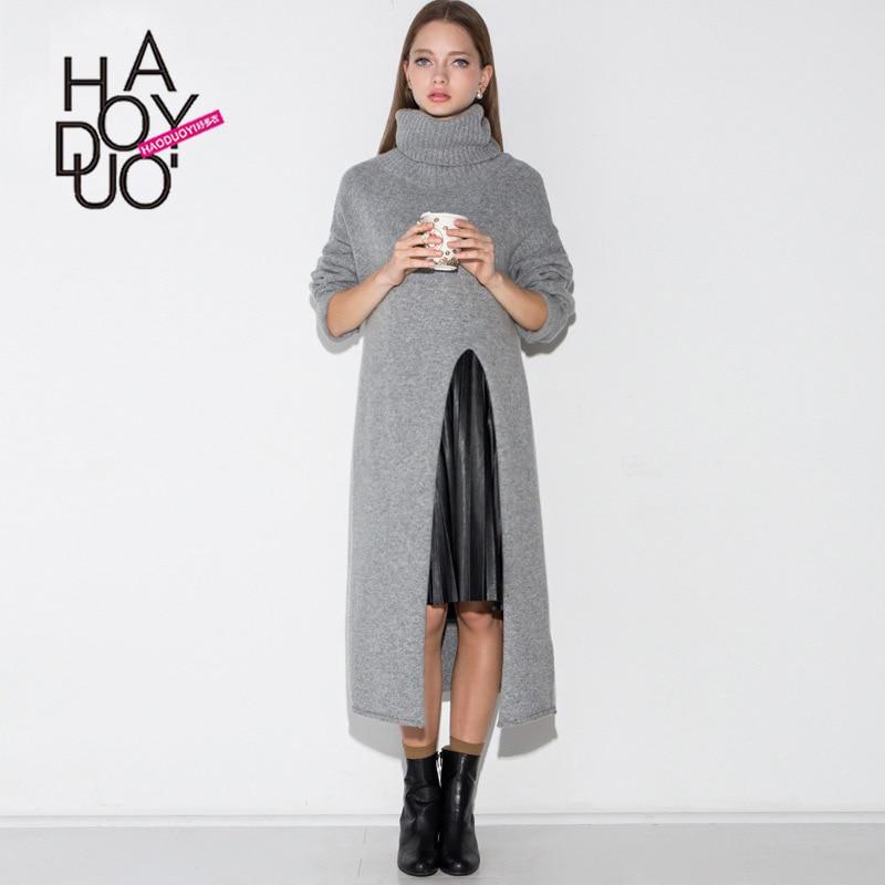 HDY Haoduoyi femmes mode Long col roulé chandail bureau dame Trendye à manches longues Simple hiver mince chandail hauts chaud en gros