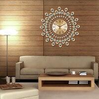 현대 철 다이아몬드 시계 소박한 거실 벽 시계 패션 간단한 패션 개성 석영 시계 음소