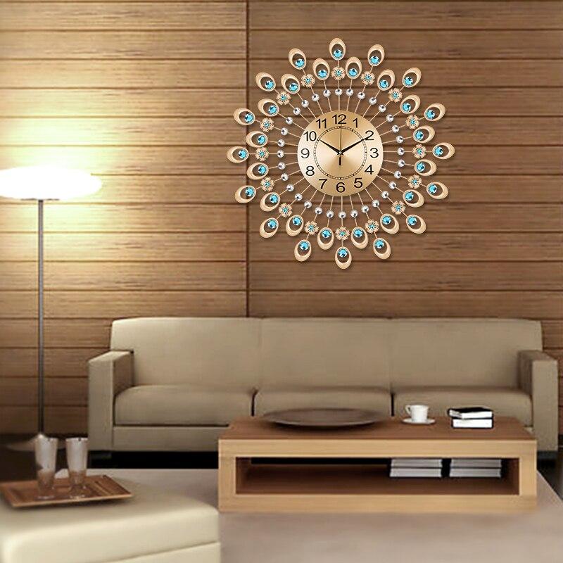 Modern iron diamond watch rustic living room wall clock for Modern living room clocks