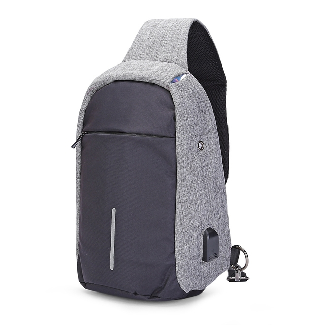 Sling Shoulder Chest Bag for Men with USB Charging Port Headphone Hole  Leisure Messenger Bag Multi - Functional Shoulder Bag 28bbe1d4517fe