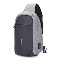 Sling Shoulder Chest Bag For Men With USB Charging Port Headphone Hole Leisure Messenger Bag Multi