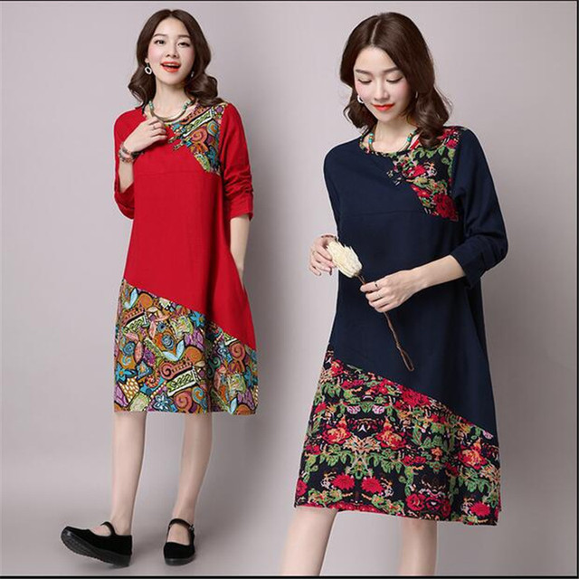 2255c794dba4e US $21.11 |Maternity Clothes Autumn New Vintage Buckle Cotton Linen  Pregnancy Dresses Long Sleeves Printed Stitching Pregnant Women YFQ092-in  Dresses ...