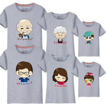 1 piece Family Matching Clothes Outfit Mother daughter grandpa grandma matching father boy family look kids summer short t-shirt summer family look clothes boy t shirts mother