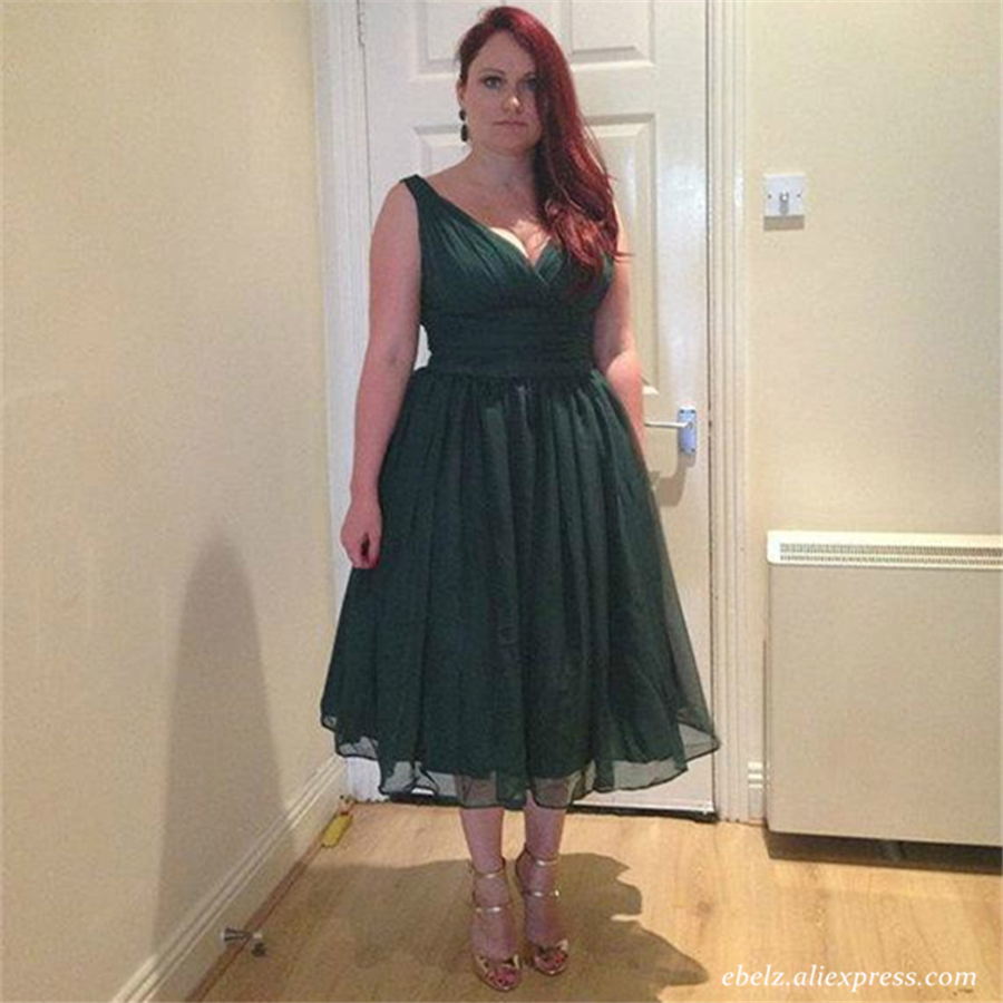 Sleeveless Emerald Green Cocktail Party Dress Vintage Tea Length ...