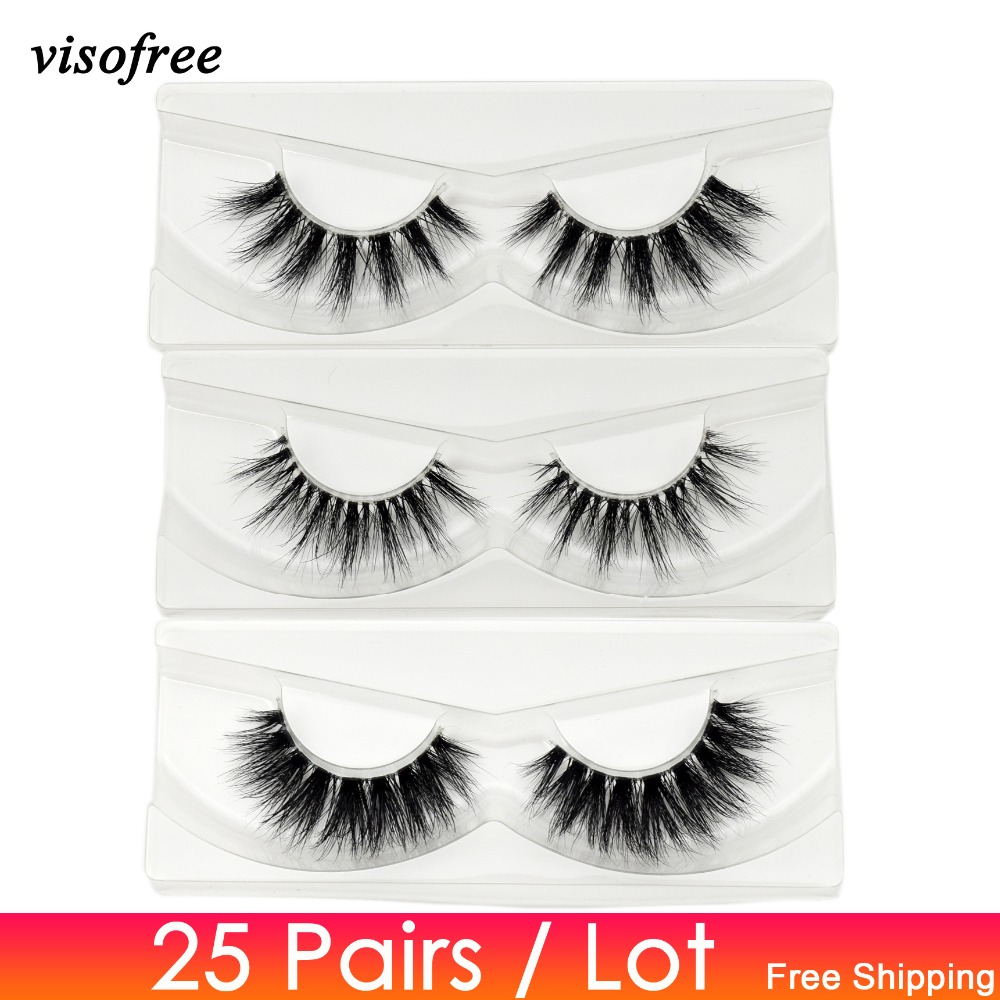 Visofree 25 pairs lot Mink Eyelashes Invisible Band Lashes Natural Full Strip Transparent band lashes 3D