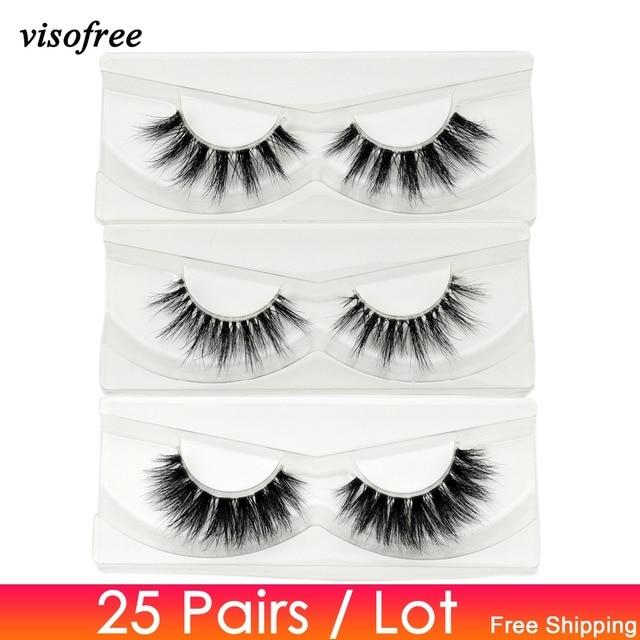 Visofree 25 pairs/lot Mink Eyelashes Invisible Band Lashes Natural Full Strip Transparent band lashes 3D Lashes cilios posticos