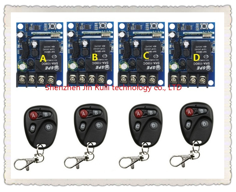 New DC12--48V 12V 24V 36V 48V 1CH 10A Radio Remote Control Lighting Power ON OFF Switch System 4* receiver +4* transmitter цена