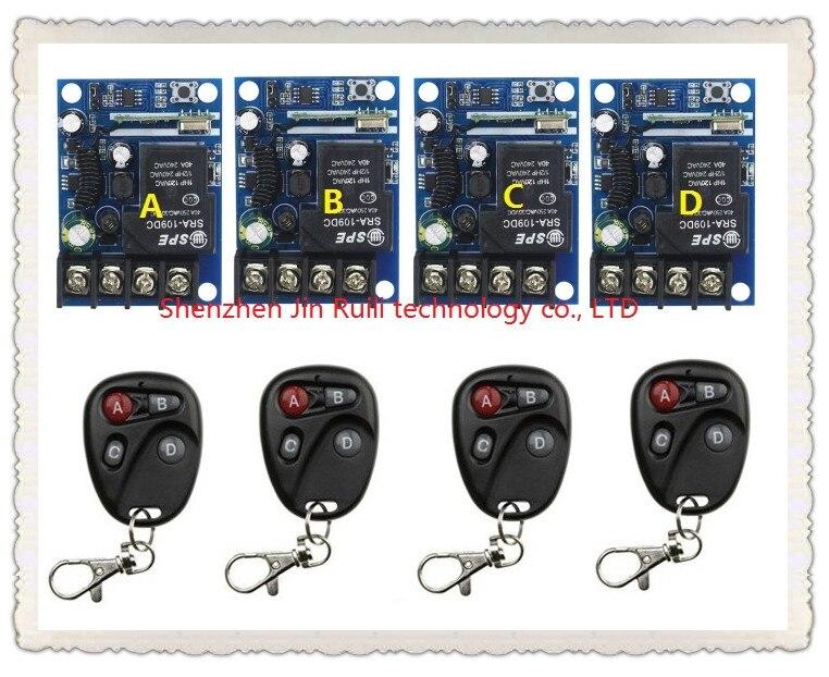 Nouvelle DC12--48V 12 V 24 V 36 V 48 V 1CH 10A Radio télécommande éclairage mise hors tension interrupteur système 4 * récepteur + 4 * émetteur
