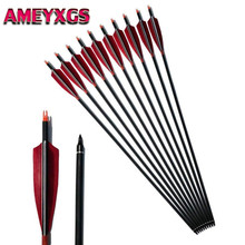 6/12Pcs 30 SP500 Carbon Arrows 5 Turkey Feather Fletching ID6.2mm Archery Arrow Outdoor Hunting Shooting Accessories