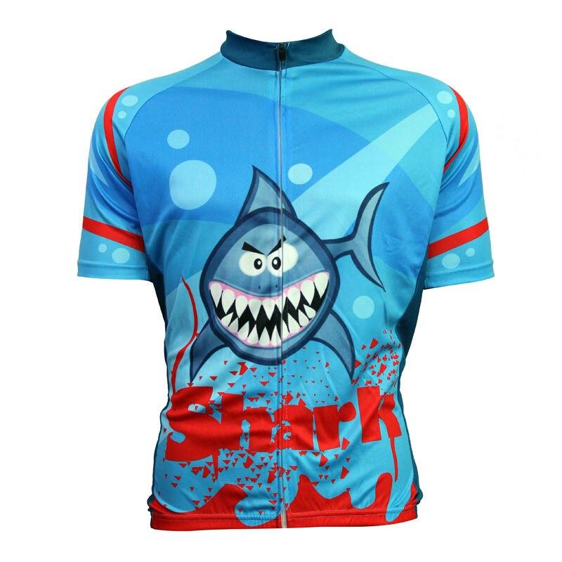 Alien SportsWear Bloody Shark Pattern Pánské O-Neck Blue Krátký rukáv Cyklistické oblečení Léto Rychleschnoucí Cyklistika Oblečení